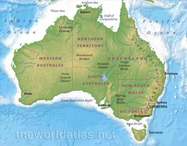 Geographical map of australia